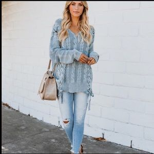 Lace up gray vintage washed cable knit swe…
